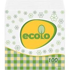 """Серветки паперові целюлозні одношарові 'Ecolo"""" 100 шт"""