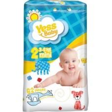 Пiдгузники Yess Baby  2 Mini 3-6 кг JUMBO  (62 шт)