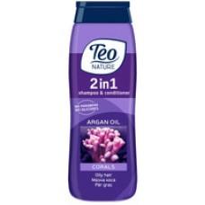 """Шампунь-бальзам для жирного волосся """"2 в 1"""" Teo Nature Shampoo And Conditioner Corals And Argan Oil 400 мл"""