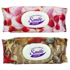 Вологі серветки з антибактеріальним ефектом Smile Decor Cakes & Seashells  60 шт